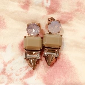 J. CREW pink gold & crystal taupe earrings.